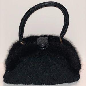 Louis Vuitton Black Snake/Mink/Python Beaded Bag
